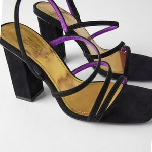Zara COLLECTION LEATHER HIGH HEEL STRAPPY SANDALS